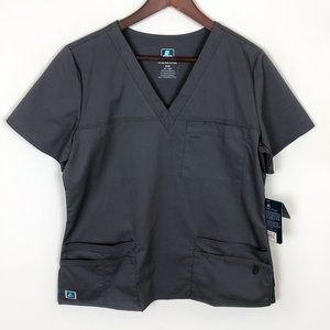 Adar Charcoal Gray Scrub Shirt Pocket Junior Fit
